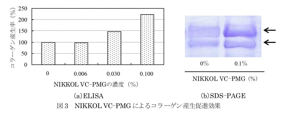 リン酸L-アスコルビルマグネシウム(NIKKOl VC-PMG)のコラーゲン産生促進効果
